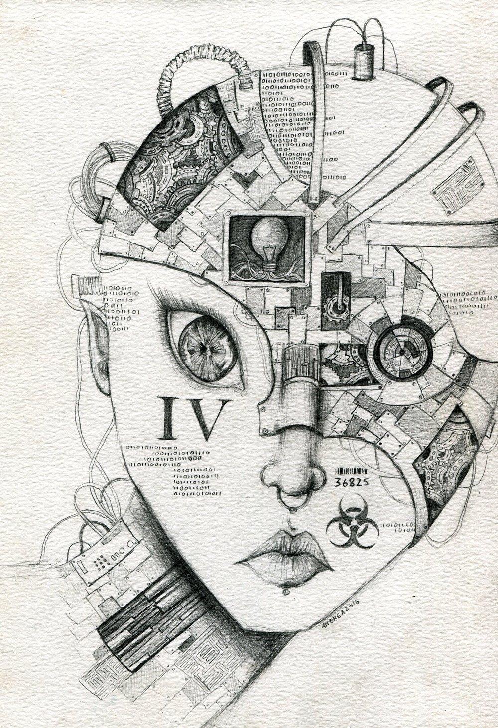 65c Andrea Rouillard, Steampunk Mask, Pencil on paper