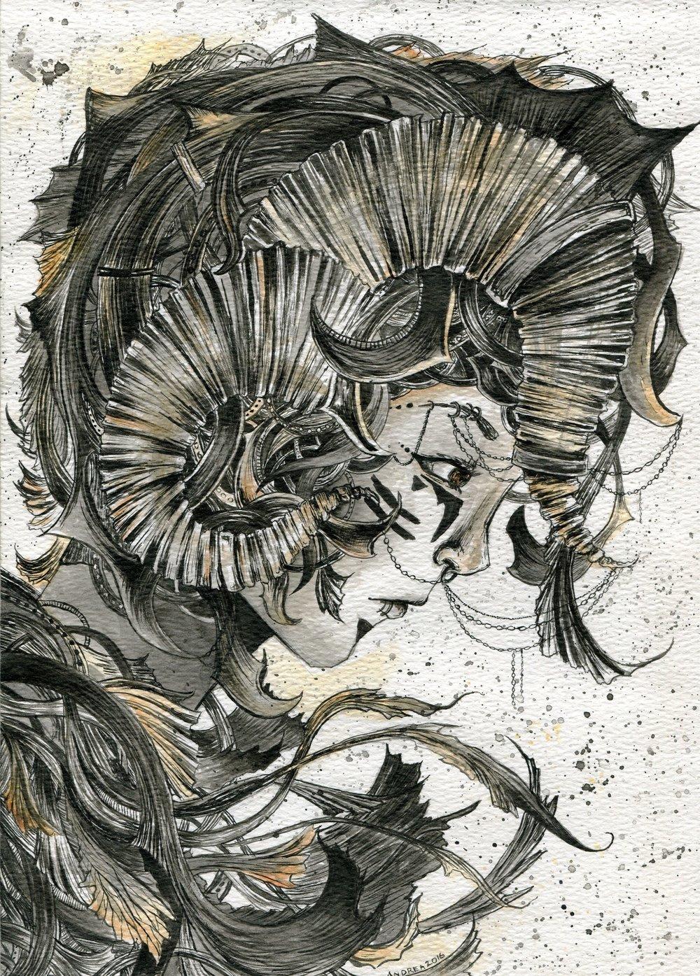 65b Andrea Rouillard, Faerie Knight 2, Ink on paper
