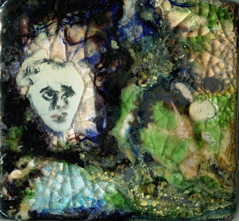 67a Willemien Cilliers, Portrait 1, Ceramic & glass