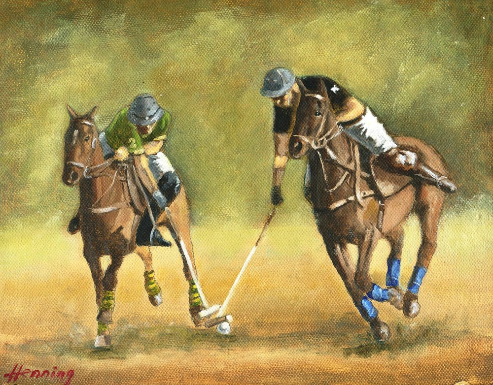66a Dennis Henning, Two Polo Players, Oil on board