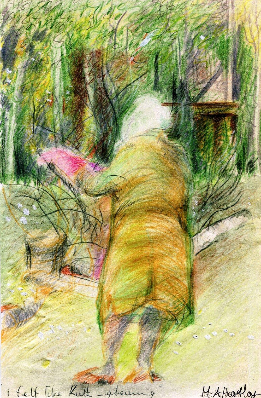 68a Mary-Ann Hartley, Joyce Gardening, Pencil crayon on paper