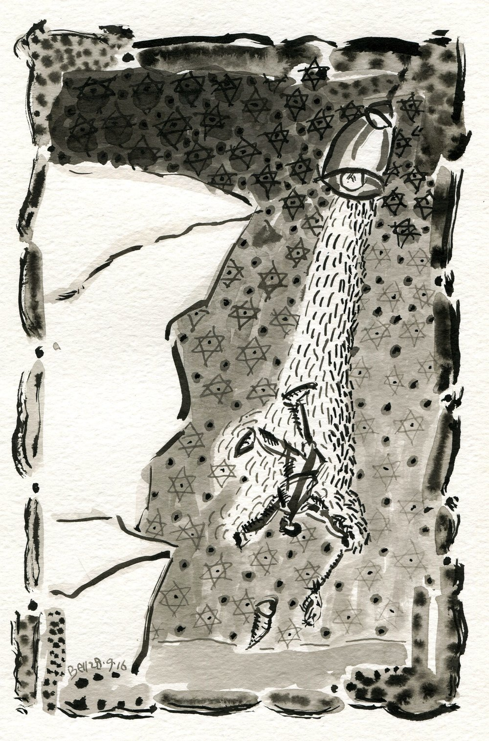 69a Brendan Bell, The Fool Falls, Brush & ink on paper
