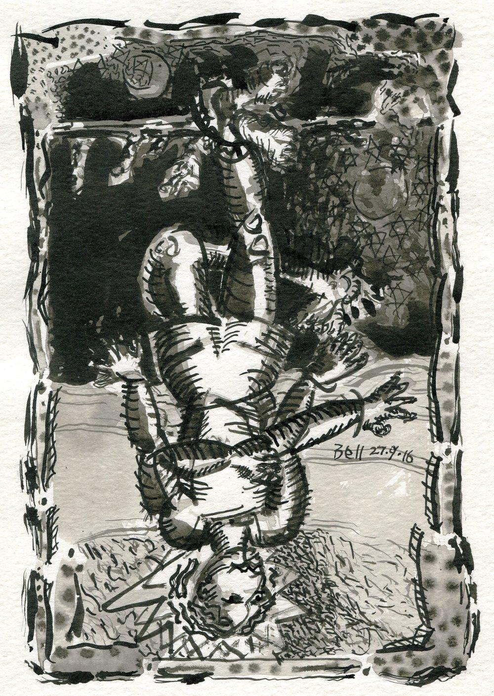 69b Brendan Bell, The Hanged Man, Brush & ink on paper