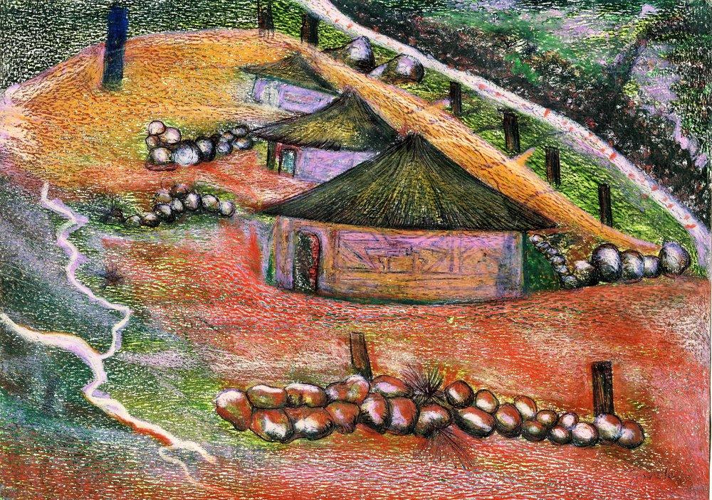 73a Sanele Sikosana,  Ezilalini 1,Oil pastel & pen on paper