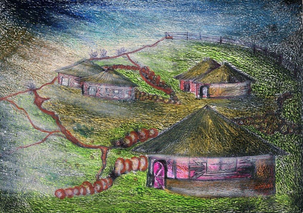 73b Sanele Sikosana, Ezilalini 2 ,Oil pastel & pen on paper