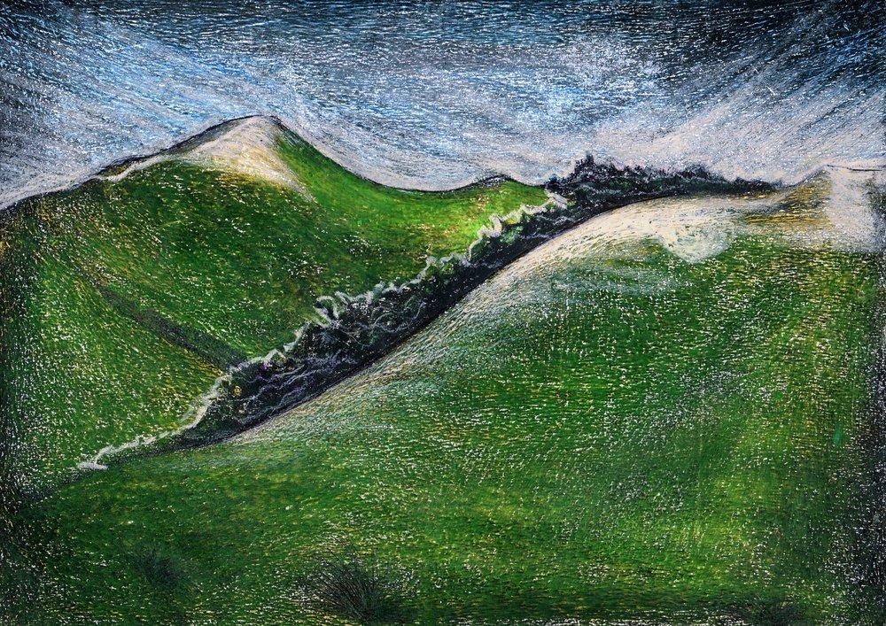 73c Sanele Sikosana, Over the Hill , Oil pastel & pen on paper