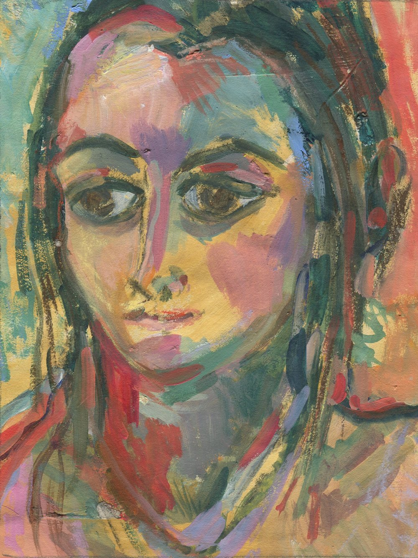 01a  Hildegarde Reid, Portrait, Acrylic on paper