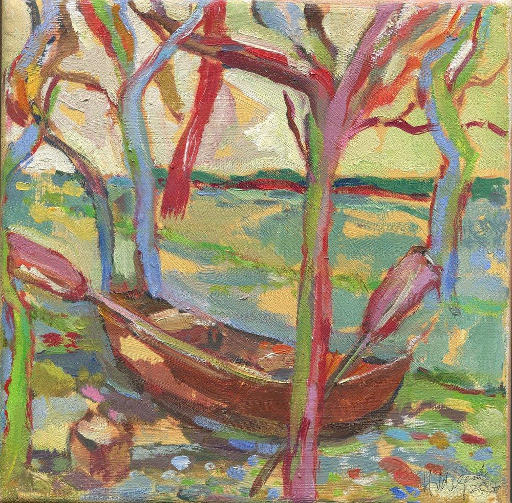 01b Hildegarde Reid,  Boat Among Trees, Acrylic on canvas
