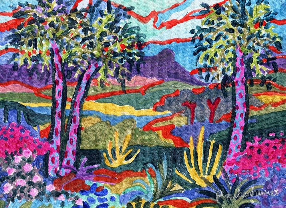 06c Nardi-Anne Raubenheimer, Inhlazane with Cabbage Trees, Acrylic on canvas