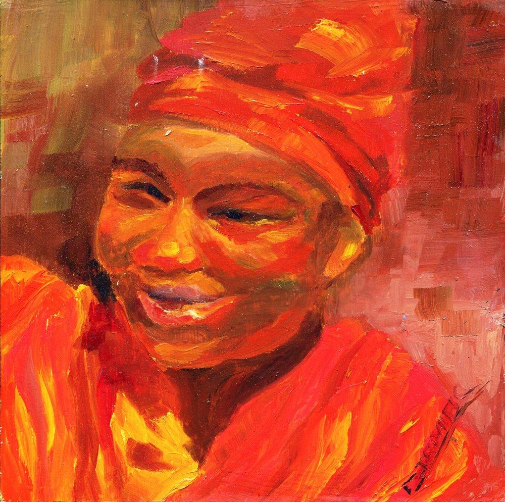 07a Christiane Jamar Varney,  Joie de Vivre, Oil on wood block