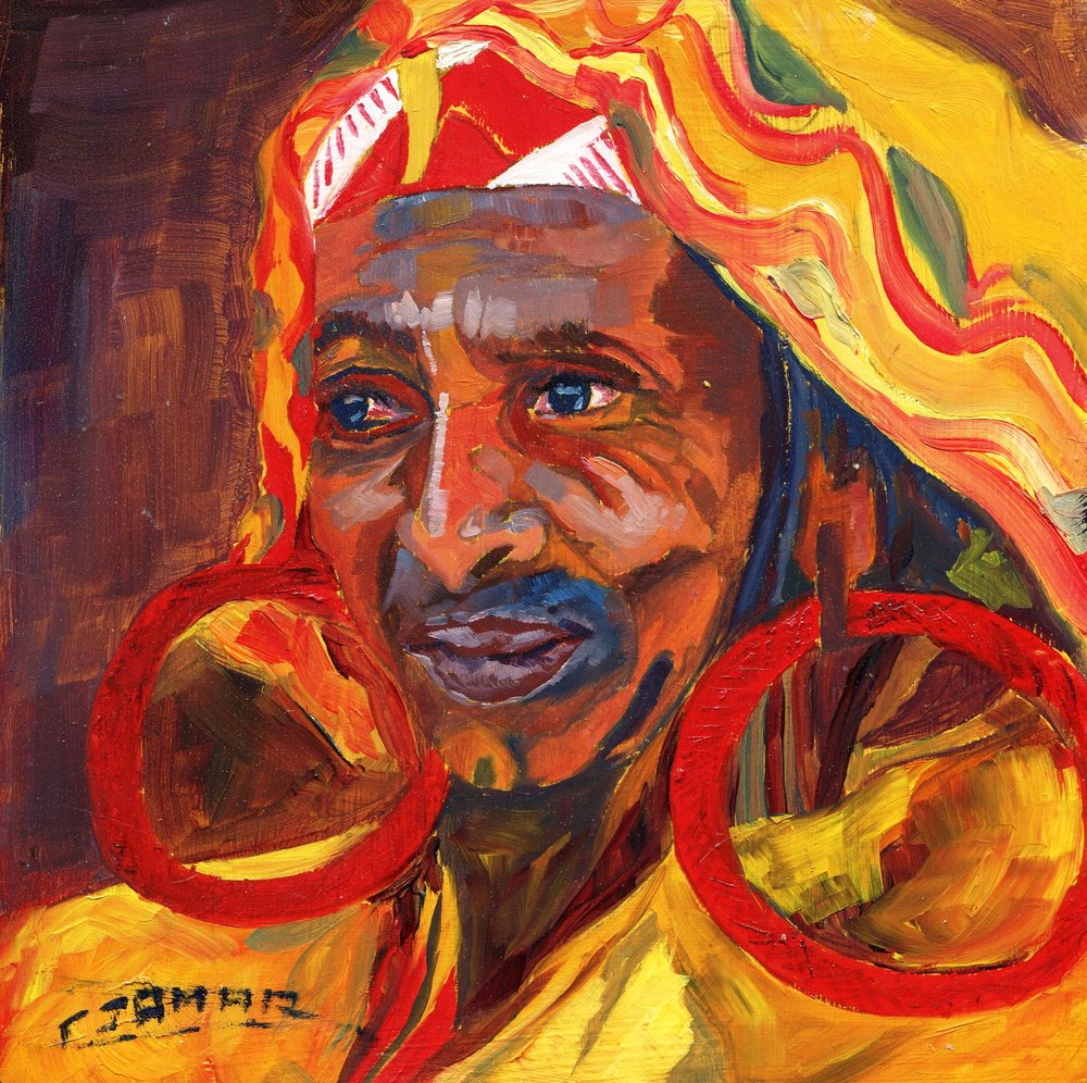 07b Christiane Jamar Varney, Face of Africa, Oil on wood block