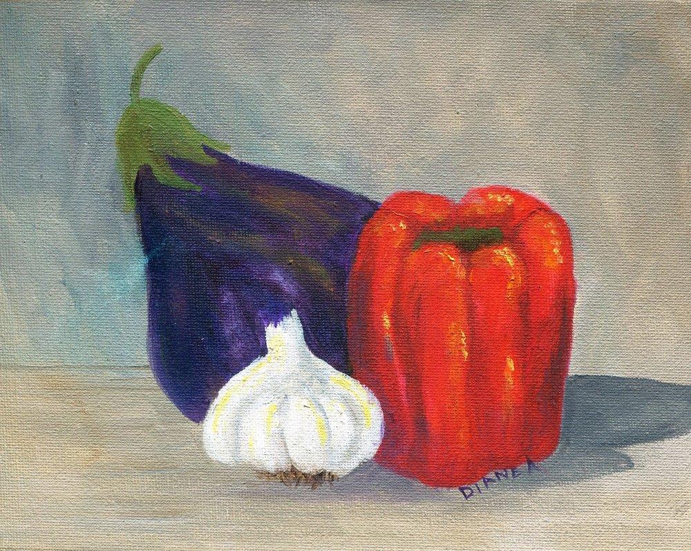 08a Diane Aldworth,  Fruit & Veg Still life, Oil on canvas