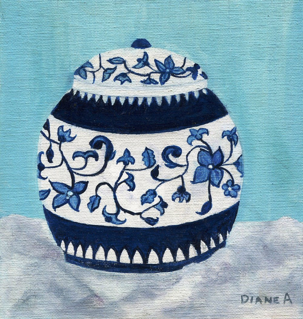 08b Diane Aldworth, Blue Ginger Jar, Oil on board