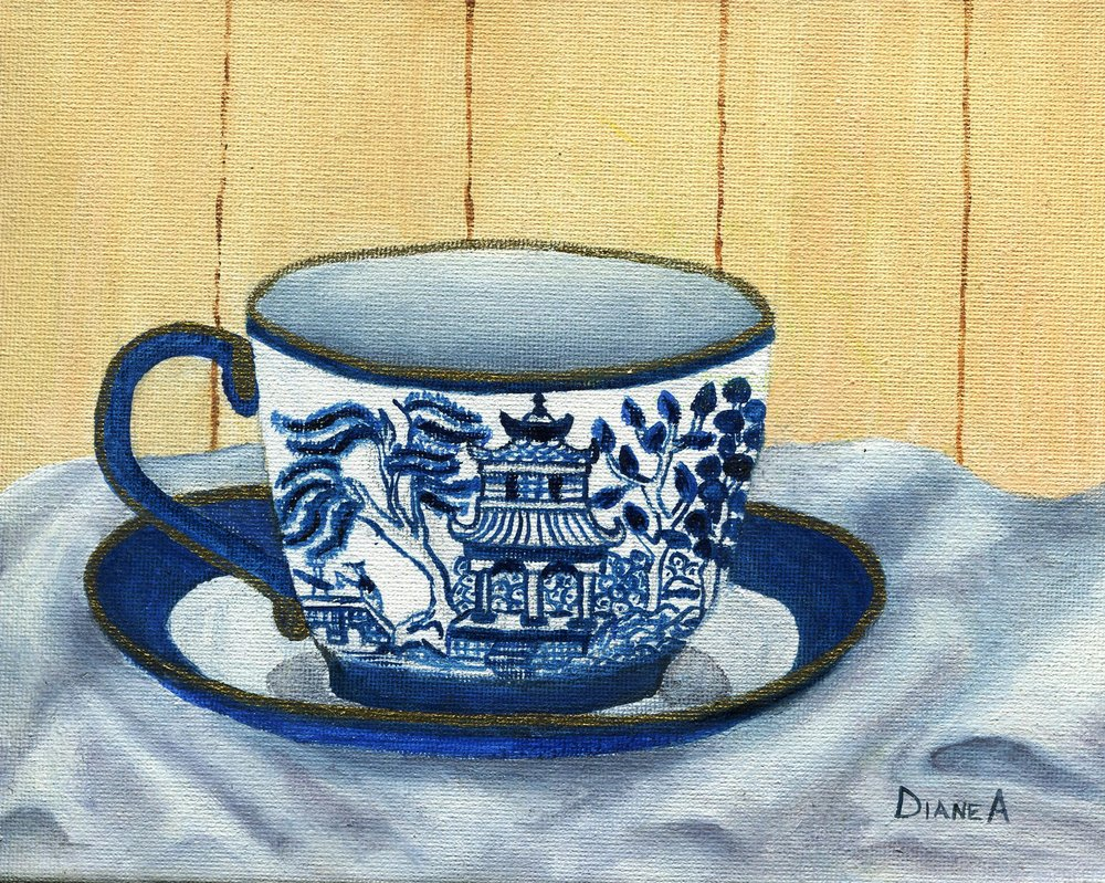 08c Diane Aldworth, Blue Cup, Oil on canvas