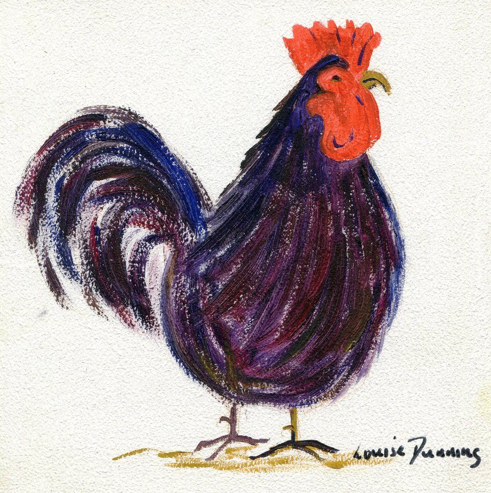 09c Louise Dunning, Cockerel 3,  Oil on board