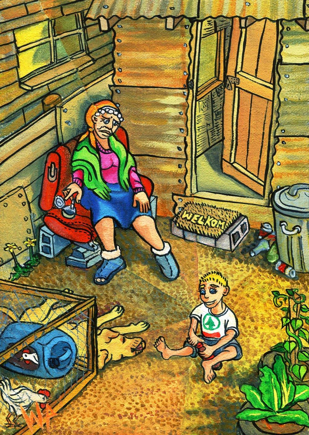 12c WP van Heerden, Poverty, Oil on canvas