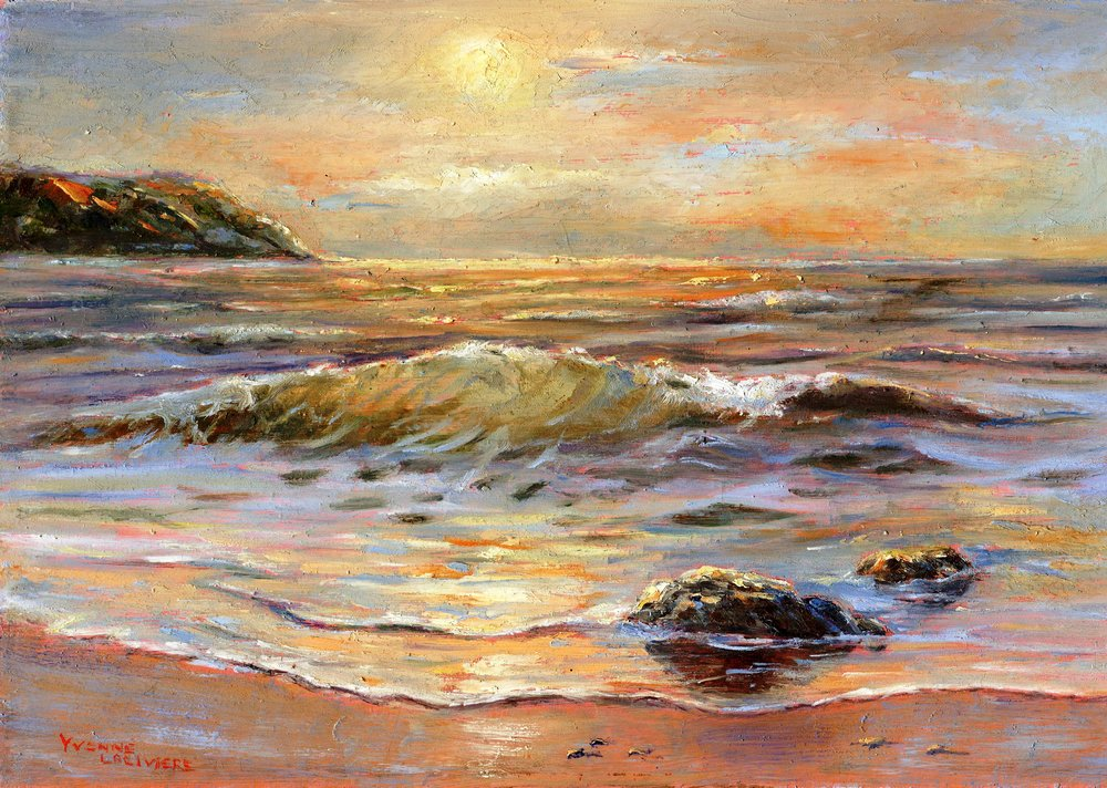 17a Yvonne Lariviere,  Sunrise at Sea, Oil on board