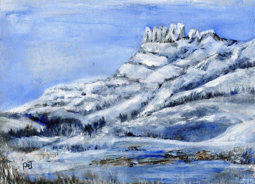 20a Pamela Pattison-Bacon,  Garden Castle in Snow, Oil on board