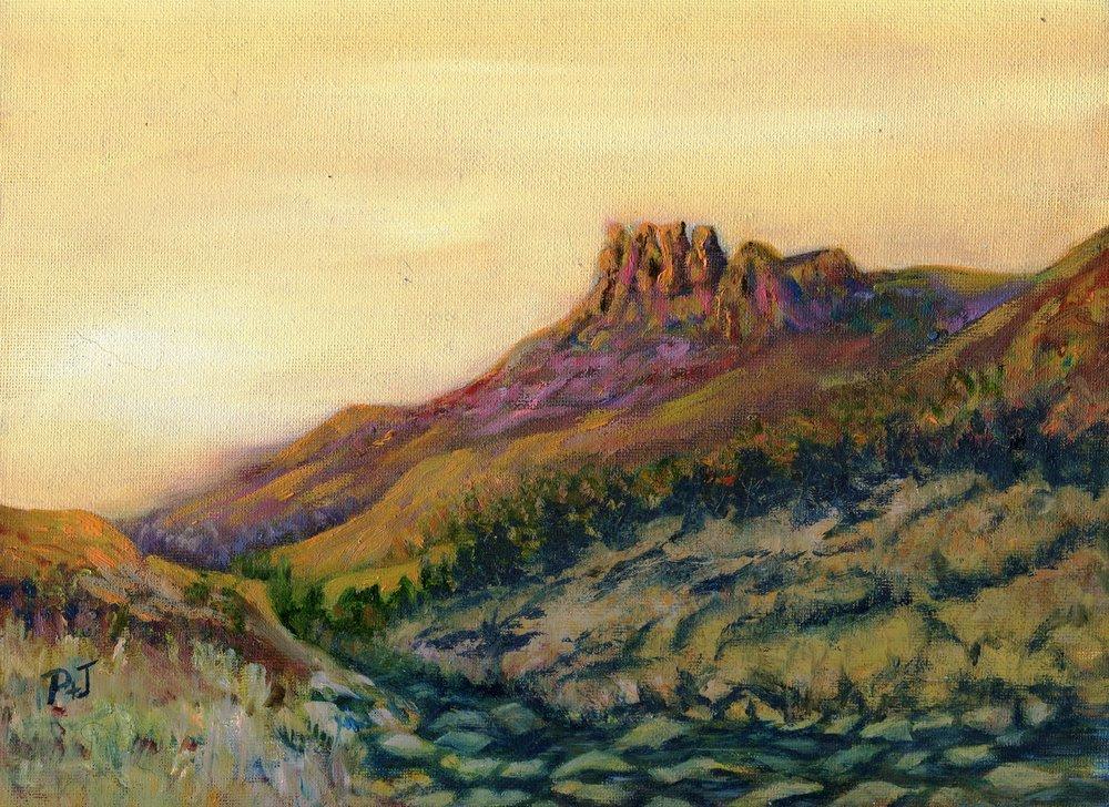 20b Pamela Pattison-Bacon,  Garden Castle at Sunset, Oil on board