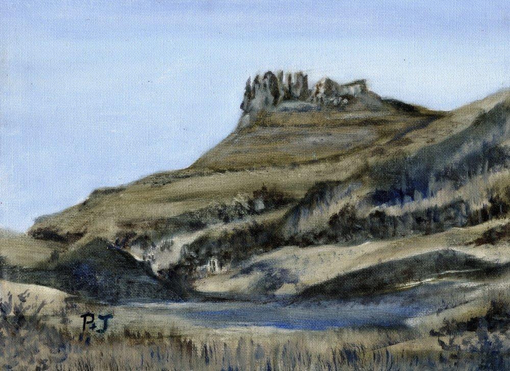 20c Pamela Pattison-Bacon, Garden Castle at Dusk, Oil on board