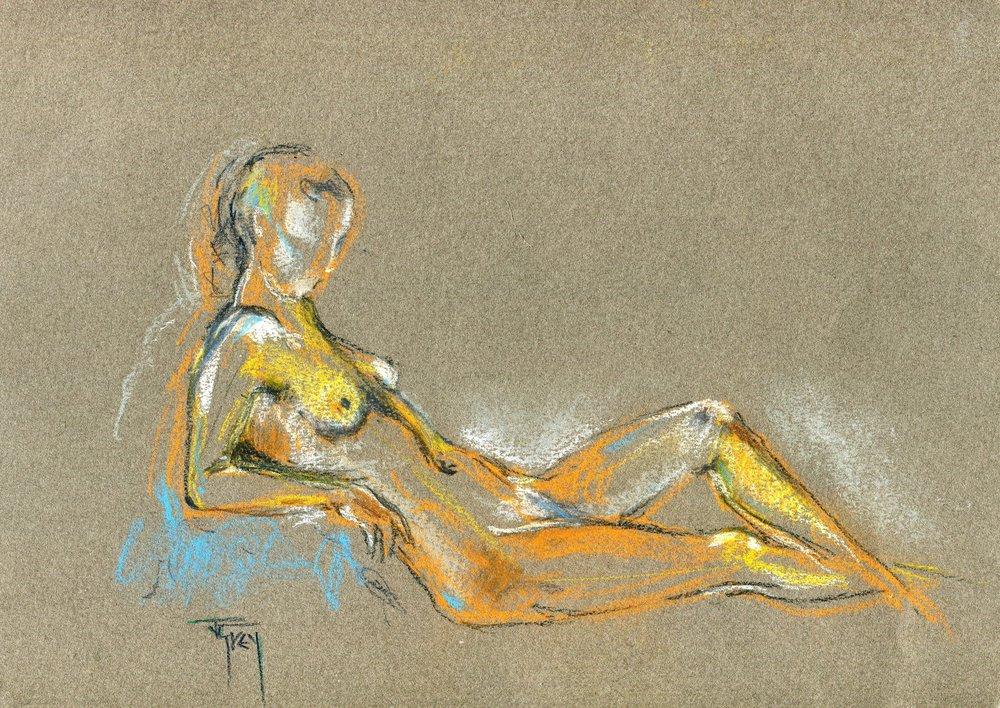 21a Juliet Grey, Tangerine (Nude), Pastel on paper