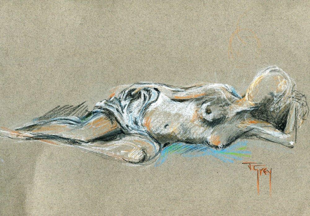 21b Juliet Grey,  Aqua (Nude), Pastel on paper