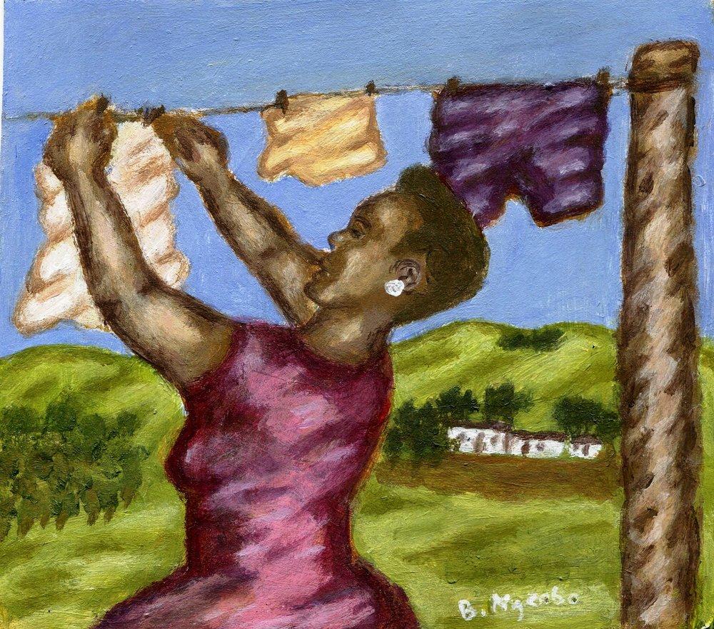 25a Bonginkosi Ngcobo, After Sunrise, Acrylic on paper