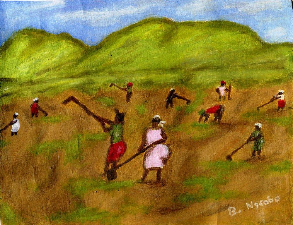 25c Bonginkosi Ngcobo, Bonded Women, Acrylic on paper