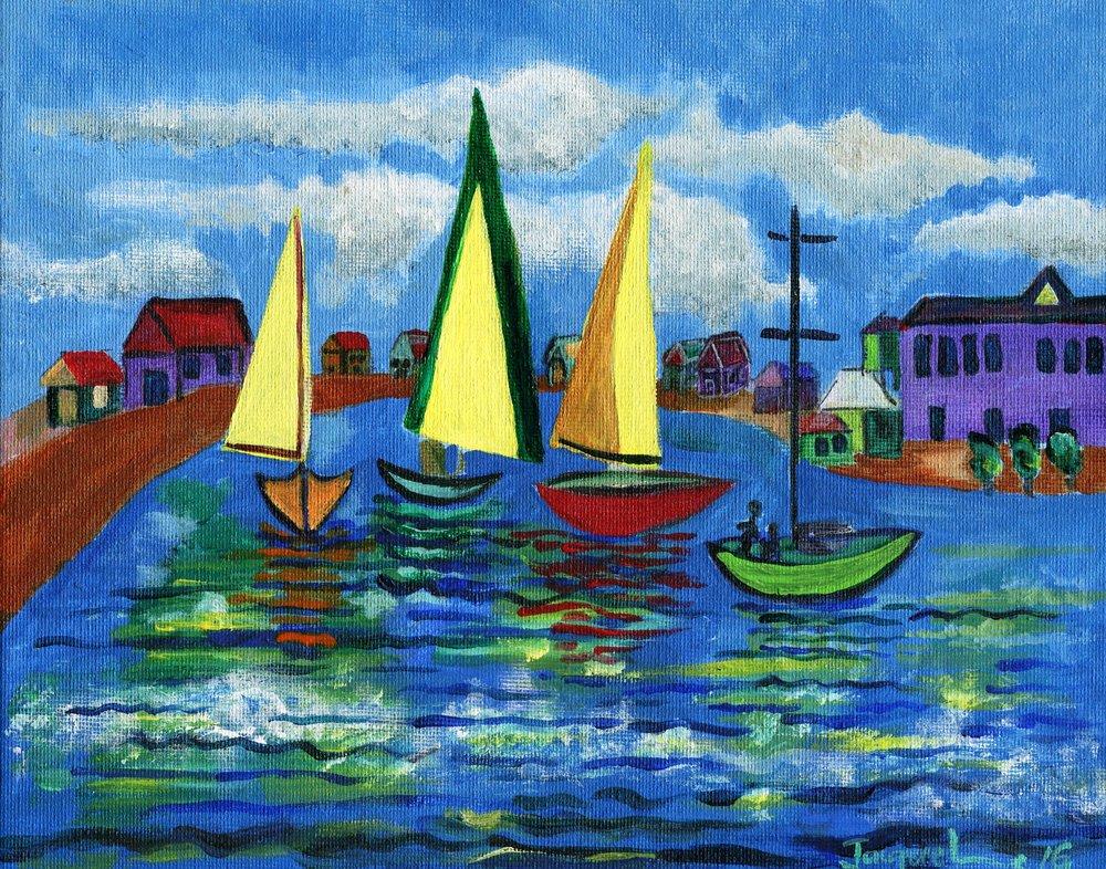 26a Jacqueline Edwards,  Summer Sailing , Acrylic on board