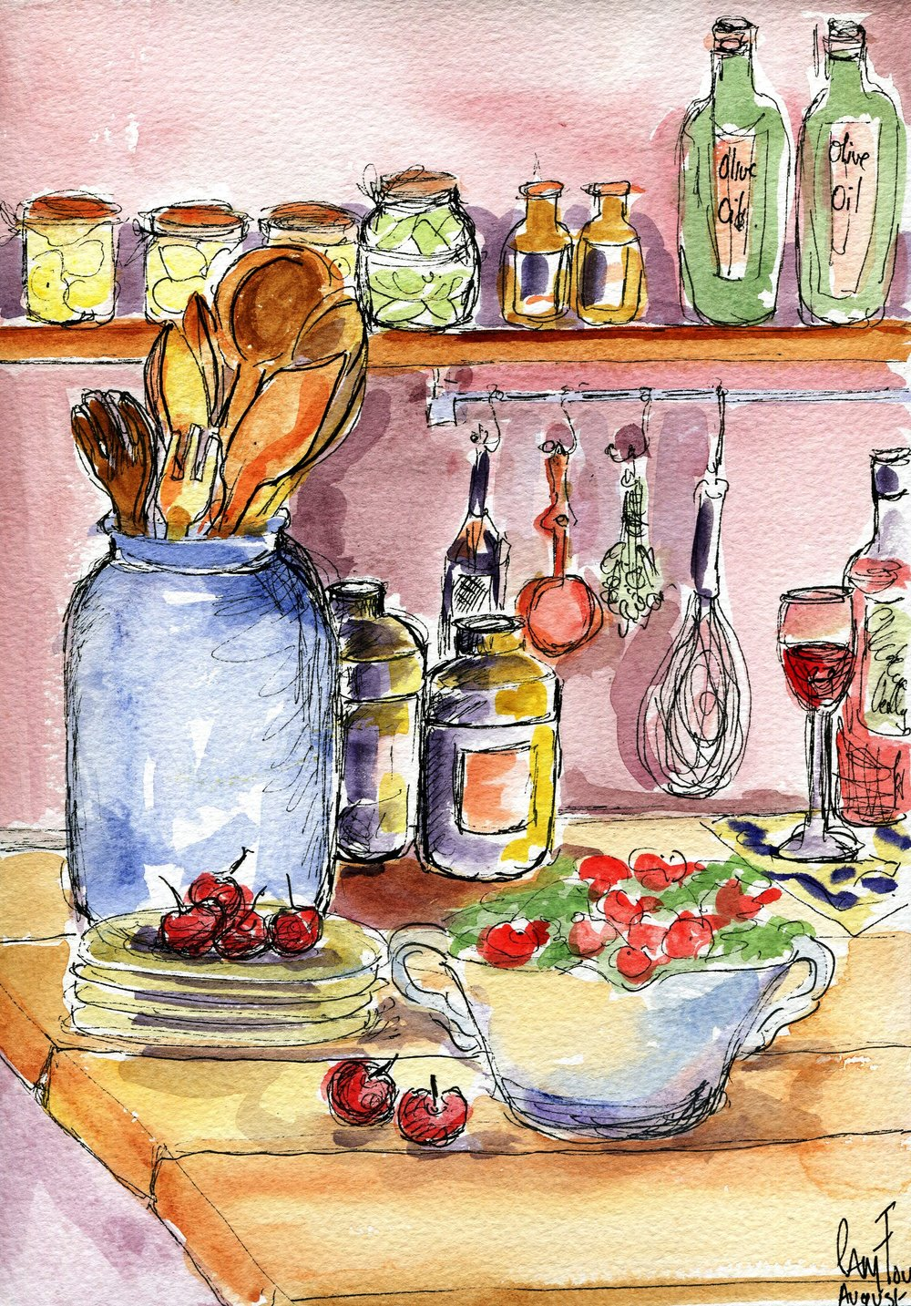 27c Pamela Mary Fourie, Kitchen Stuff, Watercolour on paper