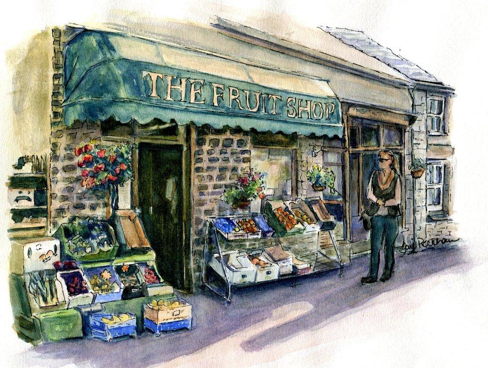 28c Gail Peckham, The Fruit Shop, Watercolour on paper