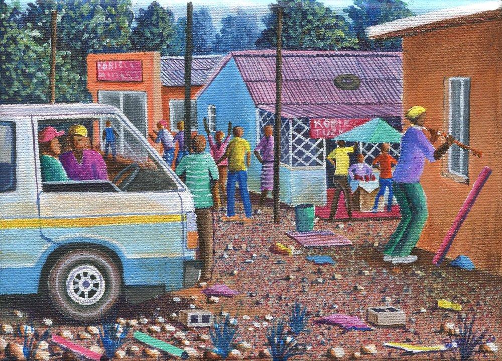30b Siyabonga Sikosana, Taxi Driver, Acrylic on canvas