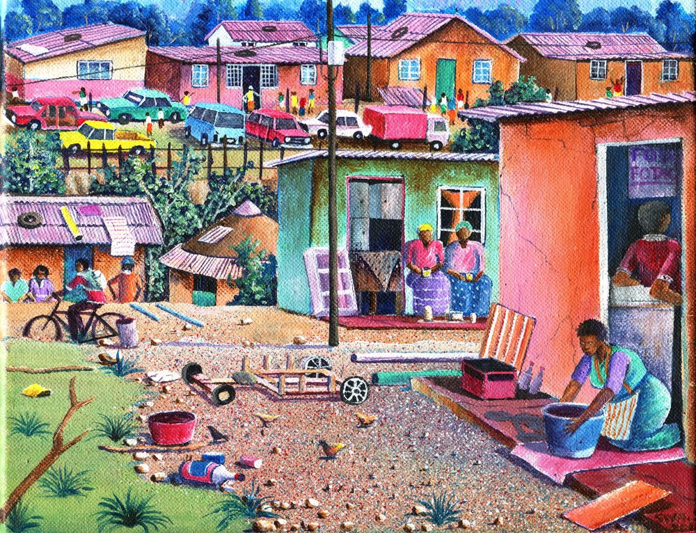 30d Siyabonga Sikosana,  Daily Life in Township, Acrylic on canvas