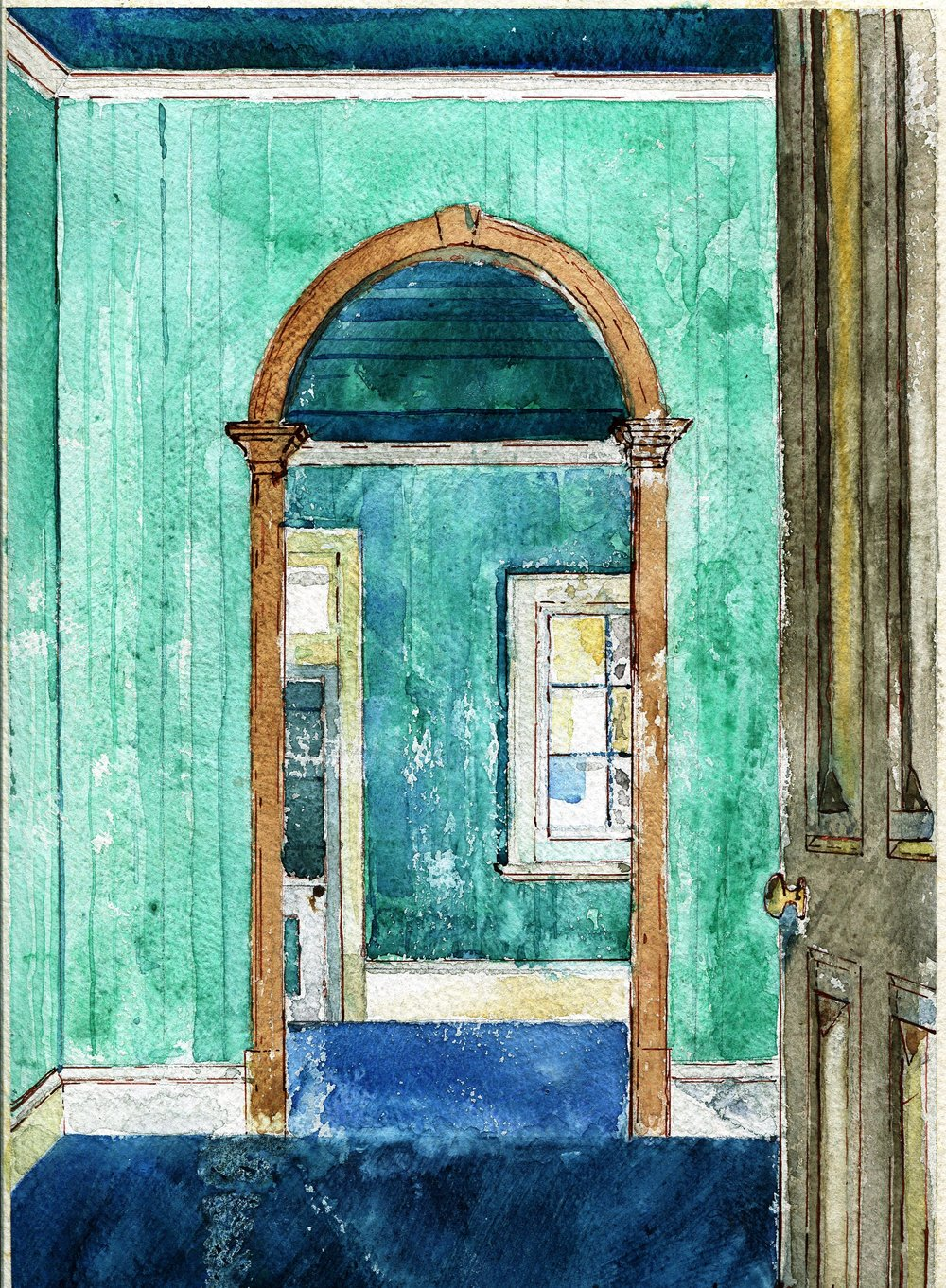 32c Jean Elworthy, Old House, Roseville, Mixed media on paper