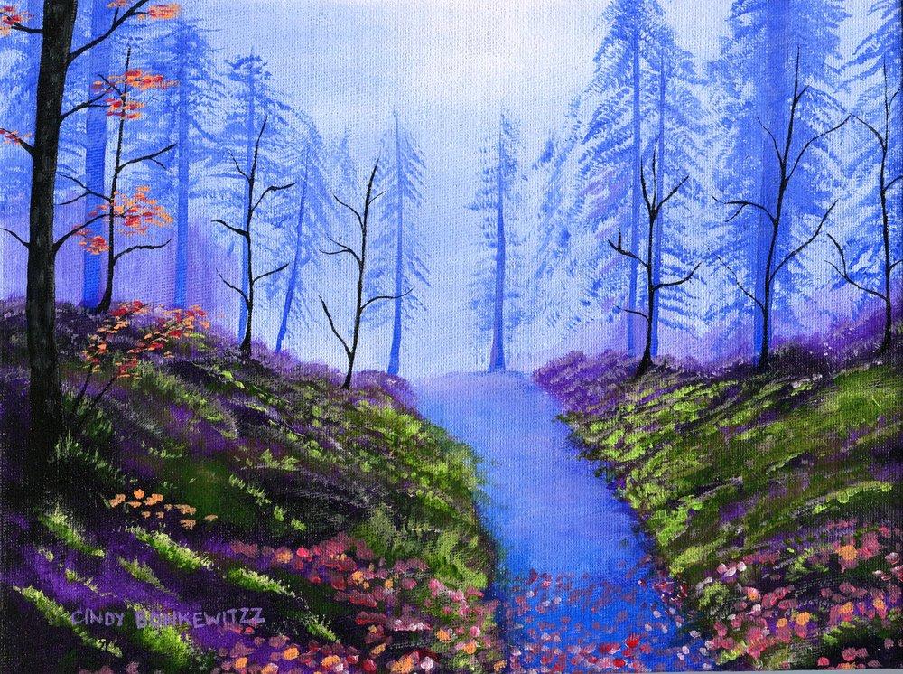 35a Cindy Bonkewitzz, Misty Forest, Acrylic on canvas