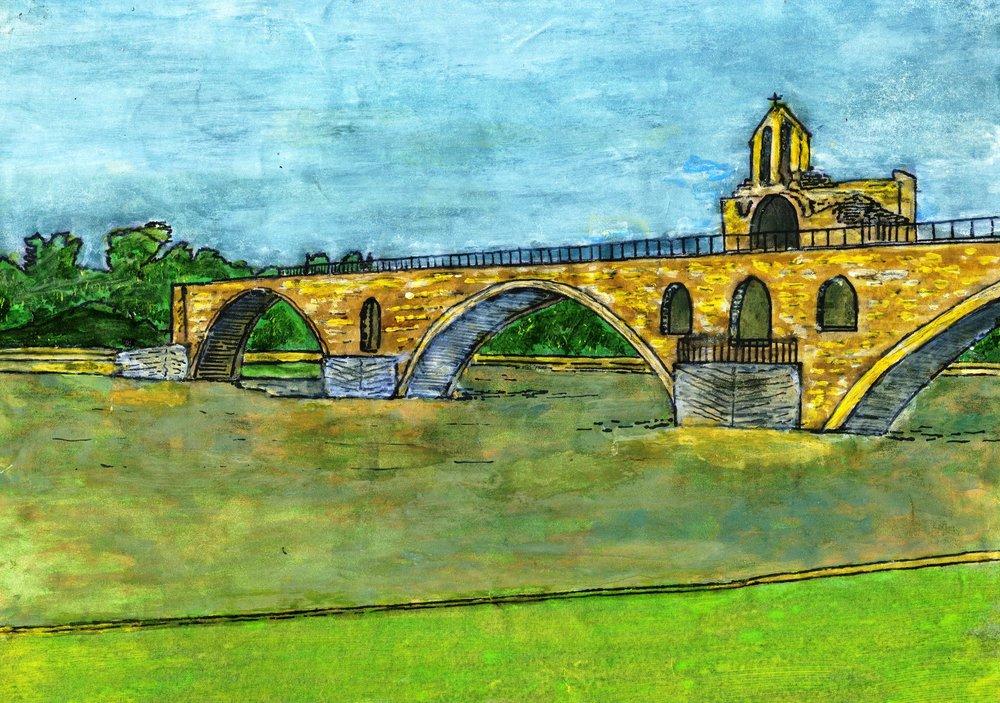 03a Chris Lake, Pont du Avignon, Acrylic on paper