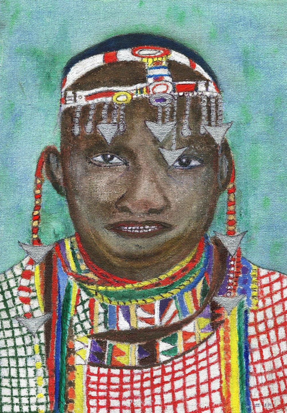 03b Chris Lake, Ndebele Wedding Groom, Acrylic on board
