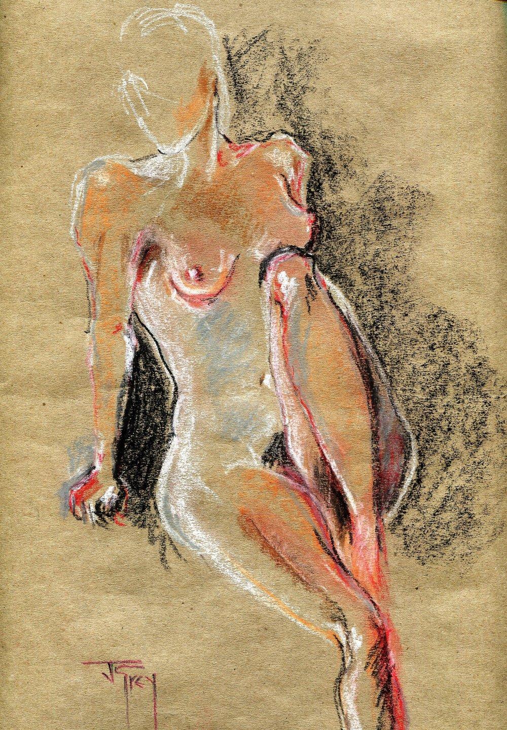 21c Juliet Grey, Cerise (Nude), Pastel on paper