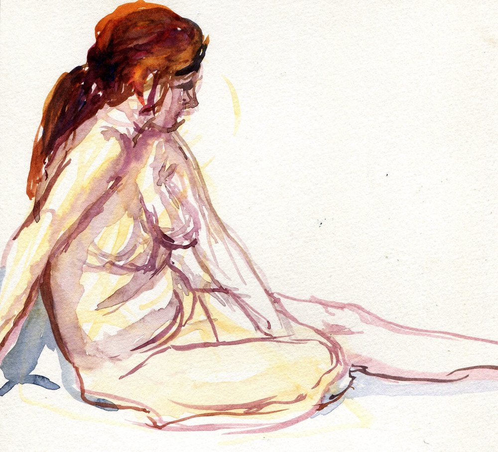 22a Elizabeth Speight,  Sitting on the Floor, Watercolour on  paper