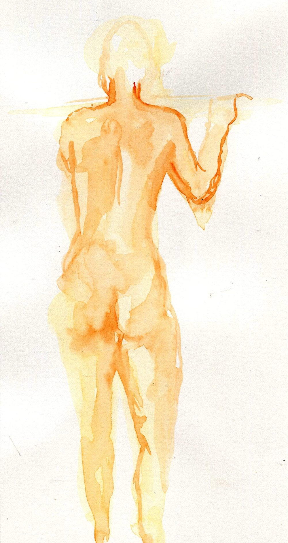 22b Elizabeth Speight,  Standing Back View, Watercolour on paper