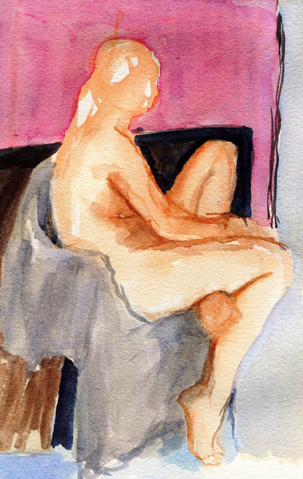 22c Elizabeth Speight,  Sitting in a Chair, Watercolour on  paper