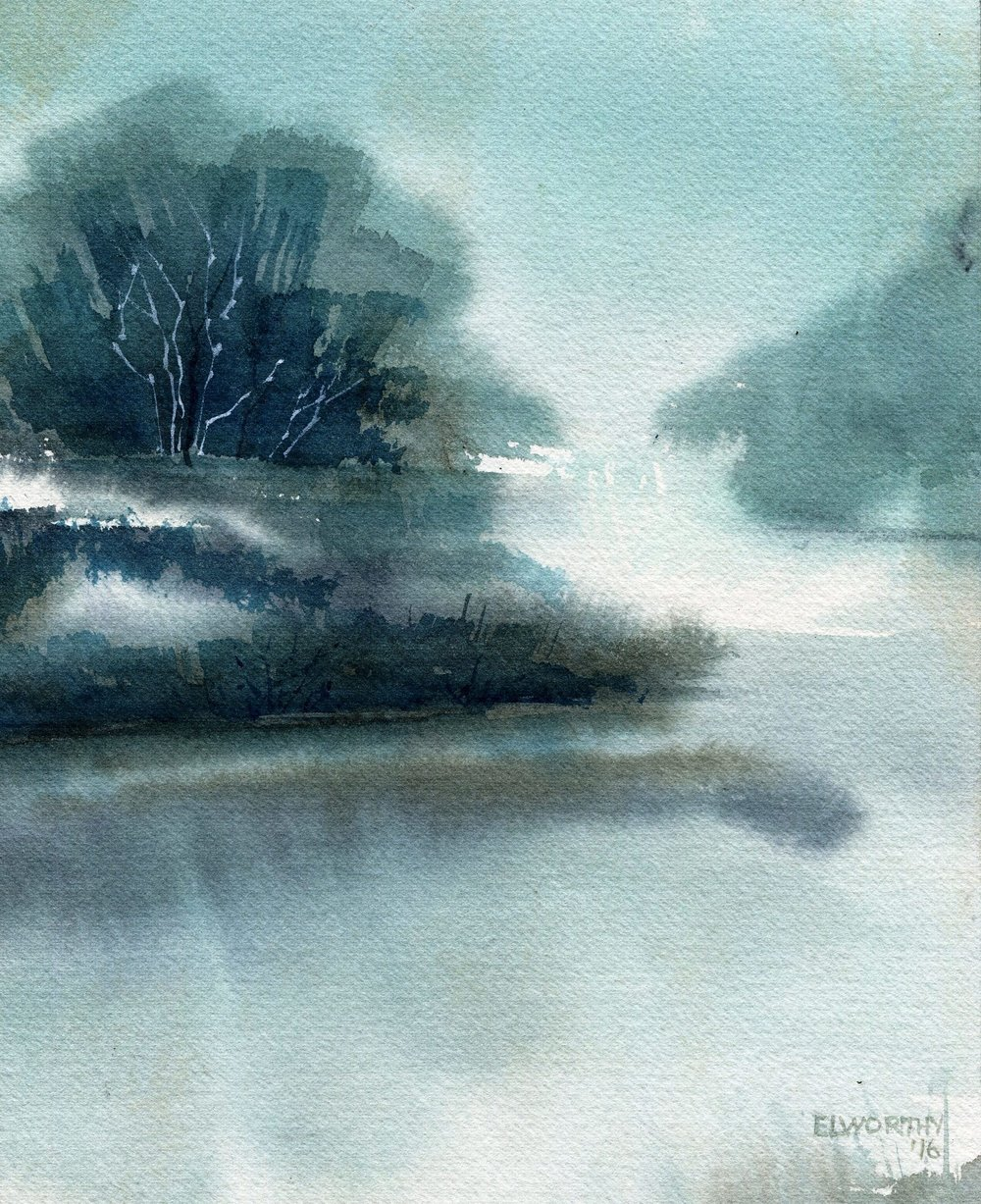 32b Jean Elworthy, Riverbend, Watercolour on paper