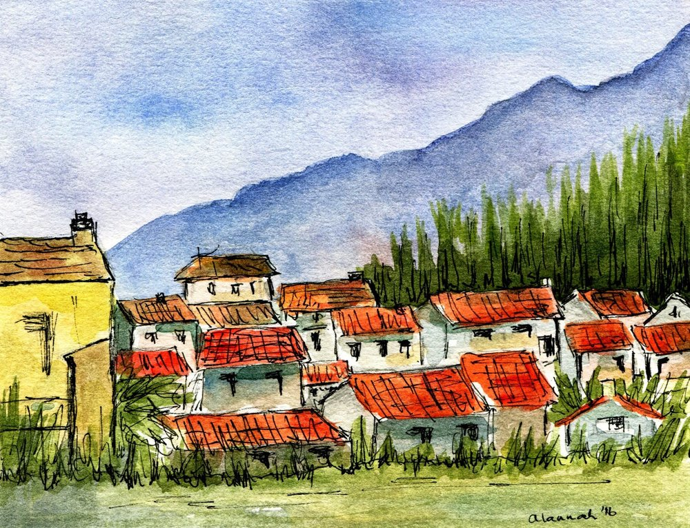 60a Alannah Valentine, Village, Watercolour and ink on paper