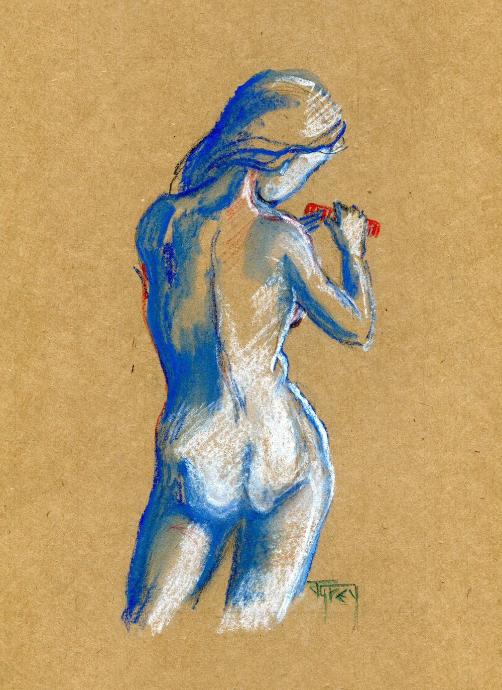 2B JULIET GREY, BLUE NUDE WITH RED COMB, CRAYON ON PAPER
