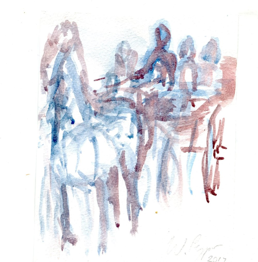 7B WAYNE PEYPER, CARRIAGE - STUDY RIDERS (SPAIN)  WATERCOLOUR ON PAPER
