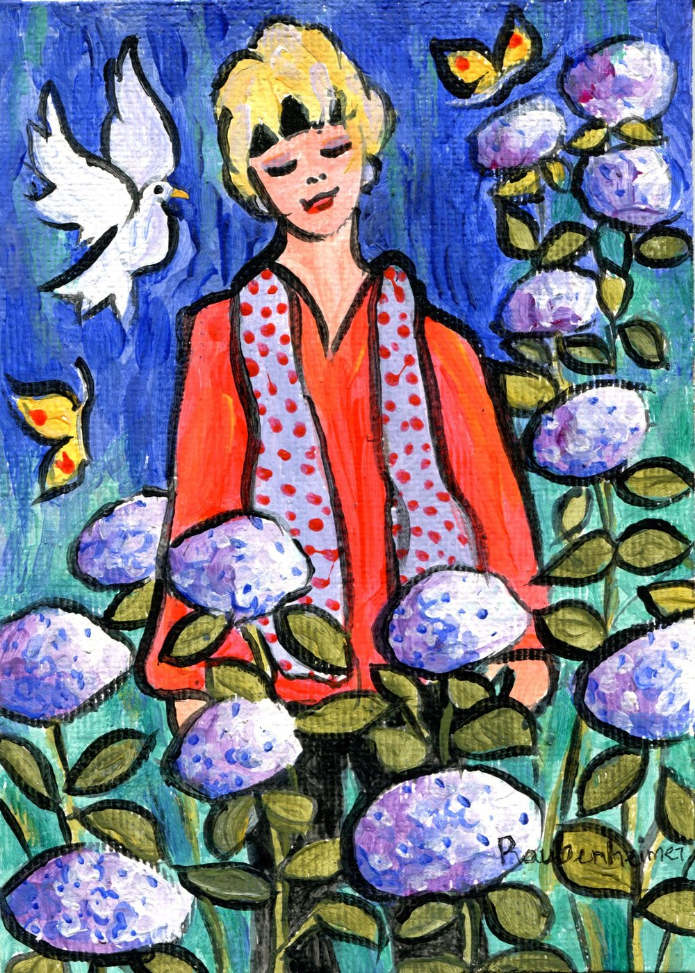 12A NARDI ANNE RAUBENHEIMER, I'M NO STRANGER TO HYDRANGEA, ACRYLIC ON BOARD