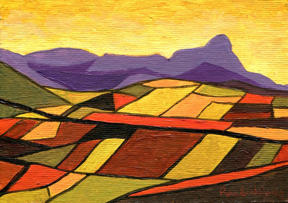12B NARDI ANNE RAUBENHEIMER, PATCHWORK FIELDS AND INHLOSANE, ACRYLIC ON BOARD