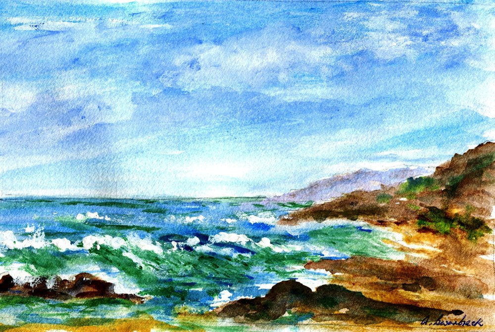 15A ANNE SWARBRECK, SEASCAPE 1, WATERCOLOUR ON PAPER