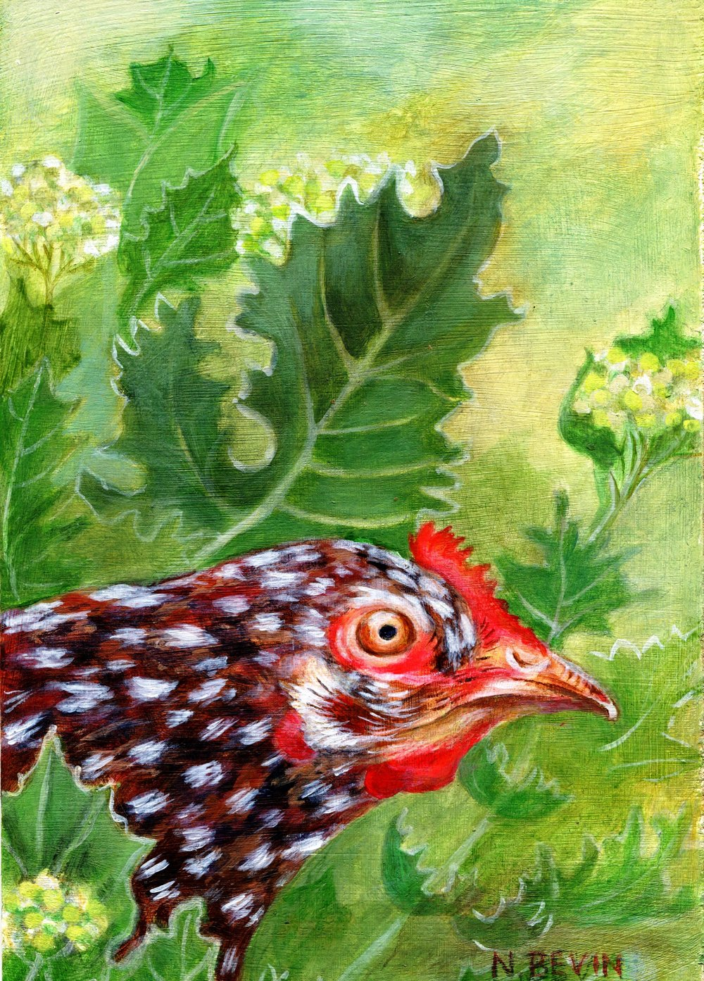 17A NANCY BEVIN, CHICKEN, ACRYLIC ON BOARD