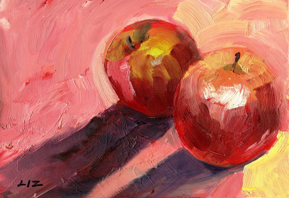20A ELIZABETH SPEIGHT, TWO RED APPLES, OIL ON BOARD